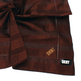 DKNY 橫條紋LOGO紳士帕領巾-深咖啡