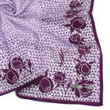 YSL 幾何滿版玫瑰緹花領帕巾-紫色