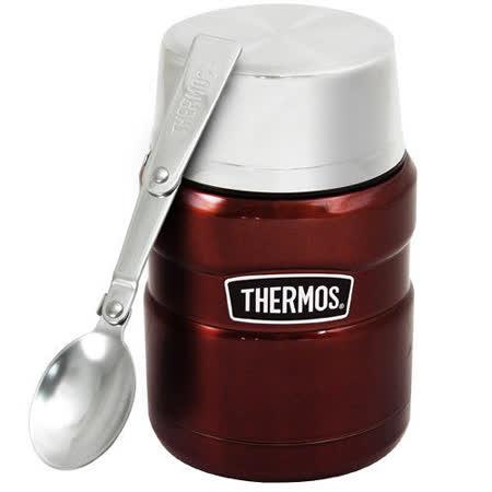 THERMOS膳魔師 不鏽鋼真空保溫悶燒罐/食物罐470ml-咖啡紅(SK3000)