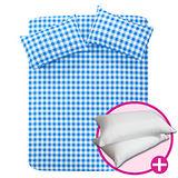 【原創本色-樂活青春】水藍格三件式床包枕超值組-單人