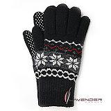 Lavender-雪花針織雙層手套-黑色