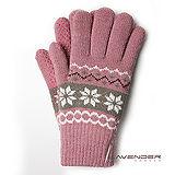 Lavender-雪花針織雙層手套-粉紅色
