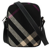 BURBERRY 經典羊毛蘇格蘭斜格小斜背包-黑色