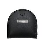 BURBERRY 黑標素面皮革馬蹄形零錢包-黑色