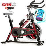【SAN SPORTS 山司伯特】黑爵士18KG飛輪健身車 C165-018 4倍強度.18公斤飛輪車.室內腳踏車