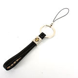 DAKS 雙D標誌皮革(鎖圈)手機吊飾-黑色