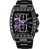 WIRED 星際戰艦三眼計時腕錶(7T92-X236P)-紫/IP黑