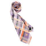 Vivienne Westwood 斜格紋ORB星球絲質領帶(灰/紫)