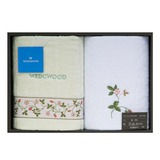WEDGWOOD繽紛田園野莓毛巾方巾禮盒-粉綠