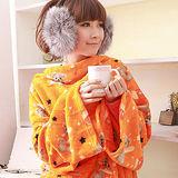 【床之戀】台灣精製-美式超舒柔多用途加大保暖袖毯/冷氣毯-橘