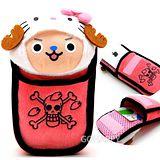 日本限定SANRIO【喬巴XHello Kitty】絨毛萬用悠遊卡式手機套