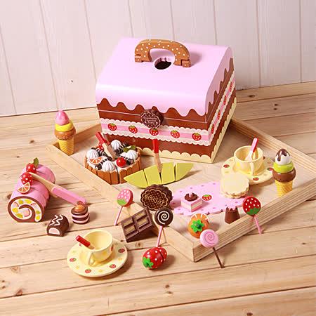 巧克力餅乾下午茶木製玩具家家酒手提組(木製蛋糕點心) -friDay購物 x GoHappy