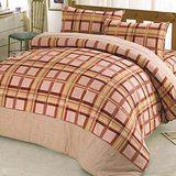 【Chimon Ritz】蘇格田園雙人純棉床包四件組-咖啡色