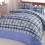 【Chimon Ritz】蘇格田園雙人純棉床包四件組-藍色