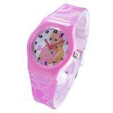 Barbie芭比小貓咪粉紅色膠帶卡通錶