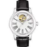 TISSOT Lady Heart 心跳鏤空羅馬機械腕錶(T0502071603300)