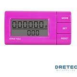 【日本DRETEC】流線型雙螢幕隨身計步器-桃紅