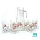韓國THE Glass-優質小紅花玻璃水杯禮盒