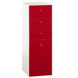 巧玲瓏紅色四抽大細縫櫃/收納櫃