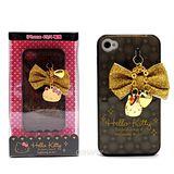 日本進口SANRIO【金色耀眼Hello Kitty】iPhone4/4S軟式手機背蓋/殼