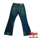 【BOBSON】男款低腰刺繡牛仔喇叭褲(53藍)