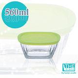 韓國THE Glass-綠蓋精緻保鮮盒-560ml