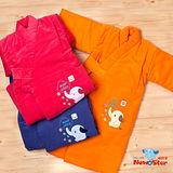 【聖哥-Newstar】MIT嬰幼兒秋冬保暖鋪棉和服睡袍浴袍-綁式腰帶-柔軟親膚-台灣製造~好品質保暖NO.1-藍-紅-橘
