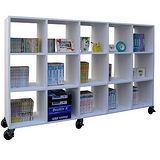 【環球】寬大型15格書櫃(附六個有剎工業輪)-二色可選