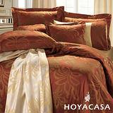 《HOYACASA 佛蘿倫斯-耀眼紅》加大六件式色織緹花長絨天絲被套床包組