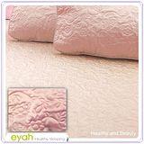 【EYAH宜雅】絲緞面立體花紋100%防水雙人保潔墊三件組(含枕墊*2)-玫瑰粉