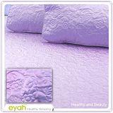 【EYAH宜雅】絲緞面立體花紋100%防水雙人保潔墊三件組(含枕墊*2)-浪漫紫