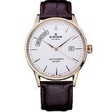 EDOX Les Vauberts 自動上鍊日曆腕錶(83007.37RAIR)-銀白/玫瑰金