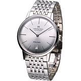 Hamilton Intra-Matic 優雅復刻機械腕錶(H38455151)銀白面鋼