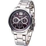 ALBA WIRED 時尚三眼計時腕錶(VK73-X004R)咖啡紅AU5003X