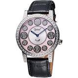 Ogival 愛其華 時來運轉珍珠貝晶鑽腕錶(3355DGS皮)-粉貝/黑