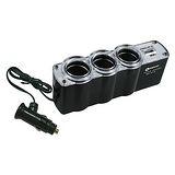 NAKAY黑色車用三孔+USB輸出孔擴充點煙器(NCU-13)