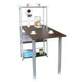 環球-[80X120公分](寬)置物架型-胡桃木色大餐桌組(台灣製造)