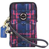 COACH 圓釦LOGO格紋織布IPhone袋(藍紅)