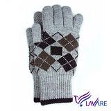 Lavender-保暖雙層手套-小菱格紋(灰)-男