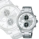 SEIKO SPIRIT 太陽能鬧鈴兩地時間腕錶-銀 V172-0AA0A