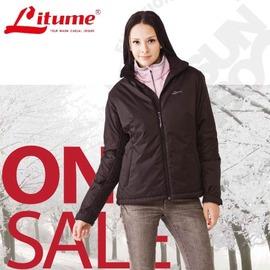 意都美 Litume ↘零碼出清 女 Primaloft 單件式超輕防水透氣防風保溫棉外套(可機洗) 黑 H7010