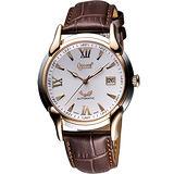 Ogival 愛其華 旗艦復古機械腕錶-雙色/咖啡 1950-2AGSR皮