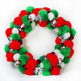 絨毛球聖誕花圈(紅白綠三色系)