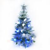 台灣製可愛2尺/2呎(60cm)經典聖誕樹+LED50燈星星燈裝飾組(藍白光)