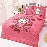 【享夢城堡】HELLO KITTY 我的小可愛系列-雙人純棉四件式床包兩用被組(粉)
