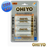 OHIYO 低自放充電電池(3號4入)-加送電池收納盒跟mini吸塵器
