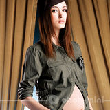 【ohoh-mini】軍中風情帥氣襯衫孕婦上衣