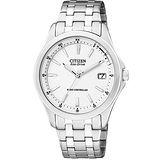 CITIZEN 光動能電波時尚腕錶-白 AS5040-50A