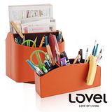 【LOVEL】義大利設計皮革辦公收納-旋轉收納盒+多功能3格置物盒