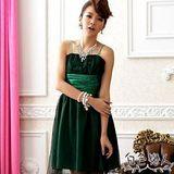 【白色戀人中大尺碼】綠色甜美夢幻波浪網紗小禮服